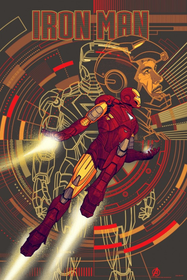 Iron Man mondo Varient 610x915 Four More of The Avengers Posters by Mondo have been Announced
