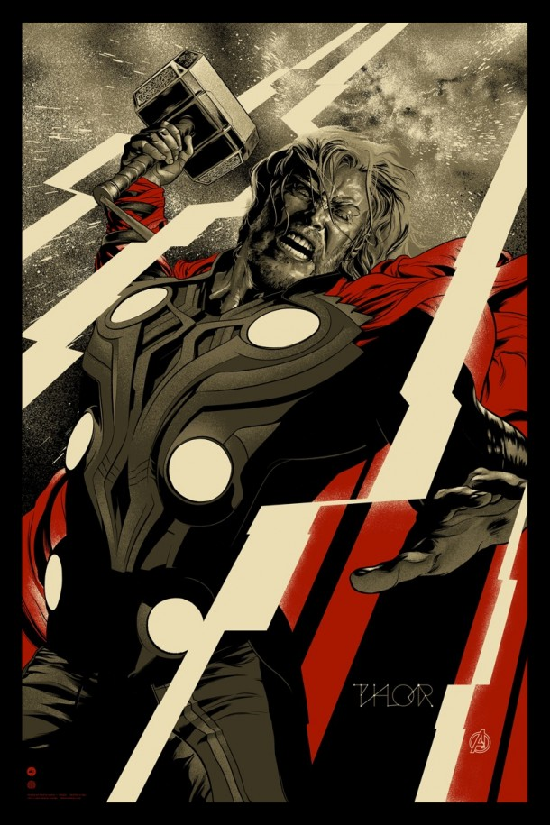 thor mondo 610x915 Four More of The Avengers Posters by Mondo have been Announced